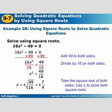 Solving Quadratic Equations By Using Square Roots Ppt Video Online Download