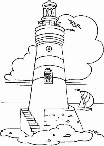 Lighthouse Coloring Pages Boat Coast Printable Guard