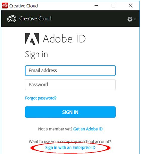 cloud sign in sign in to creative cloud as an enterprise user