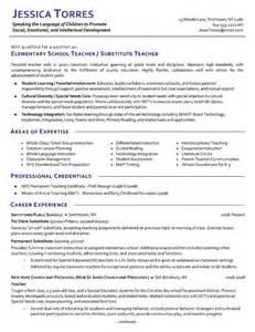 resume exles for high teachers substitute teacher resume exle exles teaching and elementary teacher