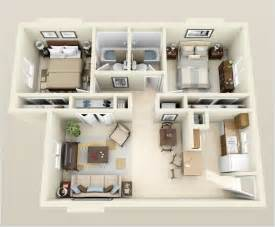 Kitchen And Dining Room Open Floor Plan by 10 Awesome Two Bedroom Apartment 3d Floor Plans