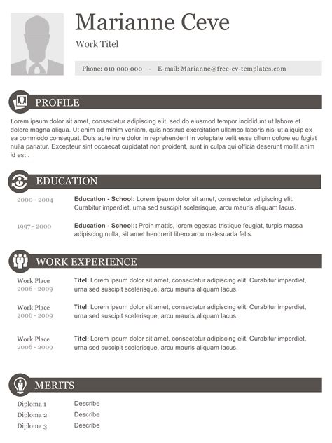 Free Resume Templates No Charge by Marianne Modern And Creative Resume Template