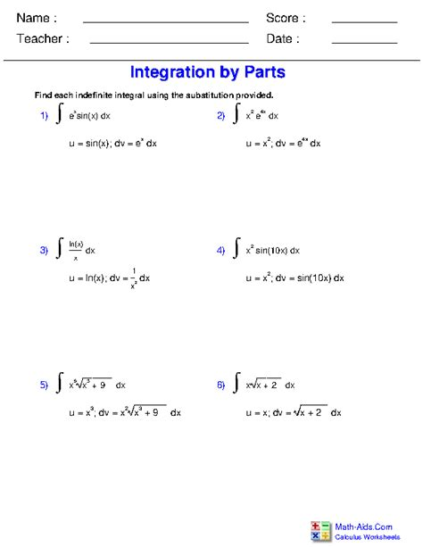 calculus worksheets indefinite integration  calculus