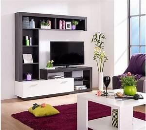 Meuble Tv Mur : mur tv glen blanc et bois noir meubles tv but ~ Teatrodelosmanantiales.com Idées de Décoration