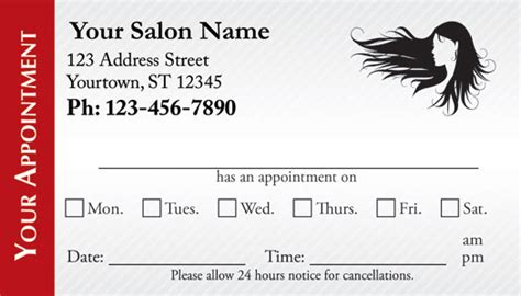hair salon appointment cards appointmentcardcentralcom