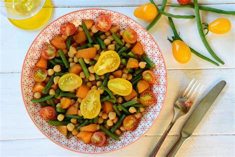 cuisiner des tomates cerises salade de pois chiches haricots verts abricots tomates