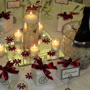 White and Red Table Setting with Centerpiece Details
