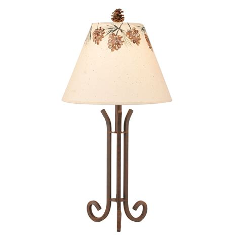pine cone l shade rusted steel 3 rod accent l with pine cone shade