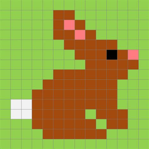pixel art  pasqua la scheda   coniglietto facile