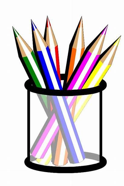 Pencils Pencil Clipart Colored Cup Cartoon Coloured