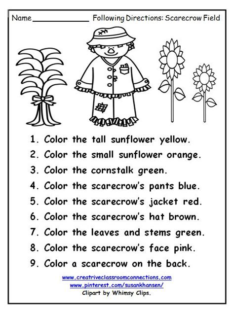 free following directions worksheet features a fall