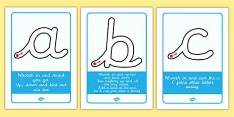 letter formation rhyme display posters cursive letter