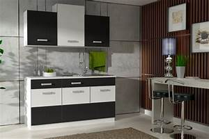 Kleine Küchenzeile Günstig : k che fabienne 150 cm k chenzeile in schwarz wei k chenblock variabel stellbar k chen ~ Indierocktalk.com Haus und Dekorationen