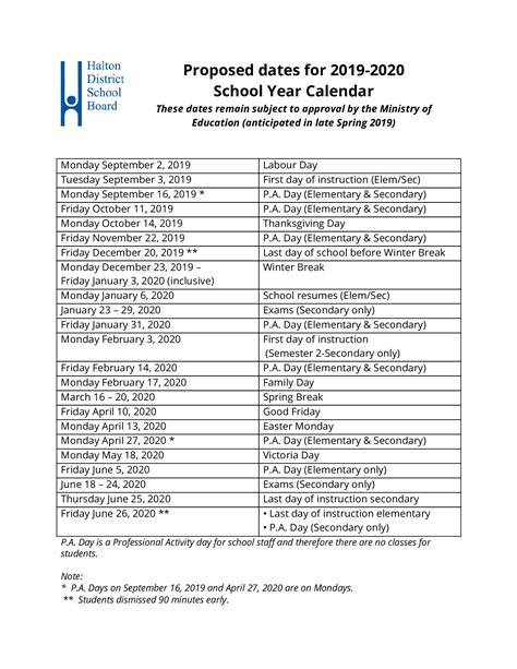 proposed school year calendar approved board trustees