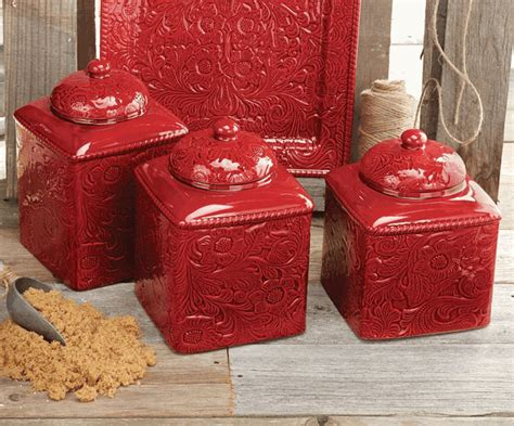 savannah red canister set  pcs