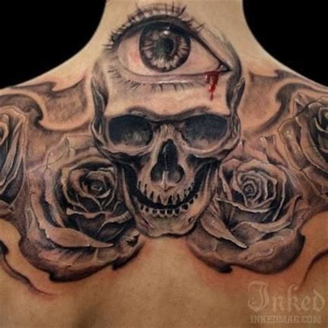 skull roses  eye tattoo tats pinterest