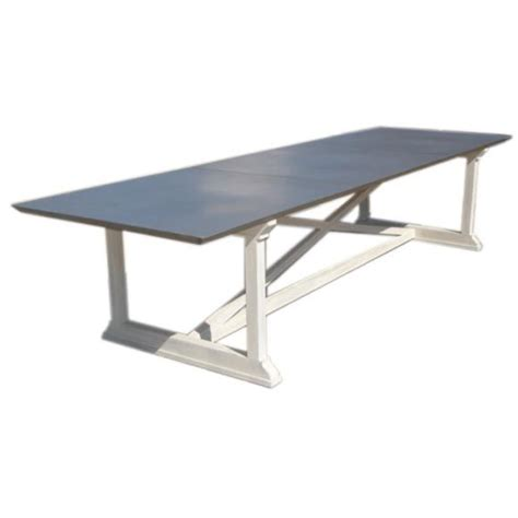 x base dining table custom quot x quot base dining table with zinc top at 1stdibs