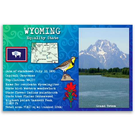 wyoming state facts postcard