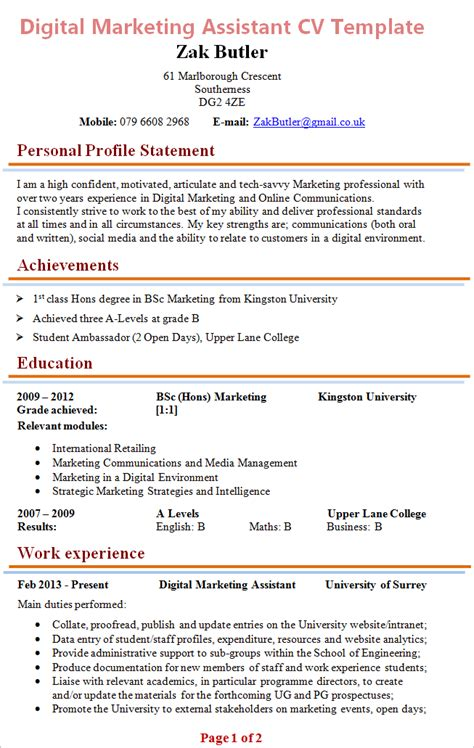 Marketing Cv by Digital Marketing Assistant Cv Exle