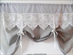 Shabby Chic Gardinen : gardinen shabby chic raffgardine landhausgardine wei grau ein designerst ck von ~ Eleganceandgraceweddings.com Haus und Dekorationen