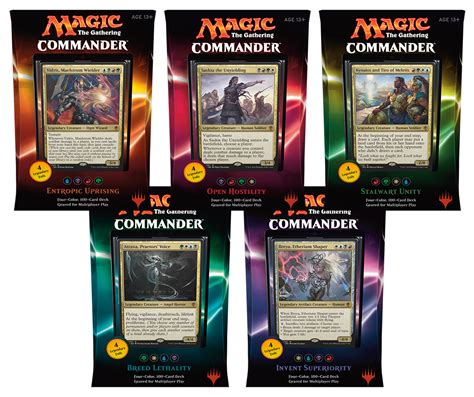 Mtg Commander Deck Builder by 2016 Mtg Commander Decks Set Of 5 Magic Products