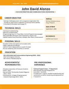 sle of resume for fresh graduate sle resume format for fresh graduates one page format jobstreet philippines
