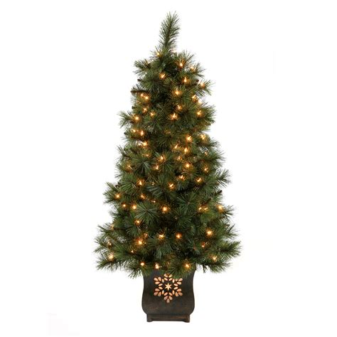 fake tree with lights shop holiday living 4 ft indoor outdoor pre lit scott pine