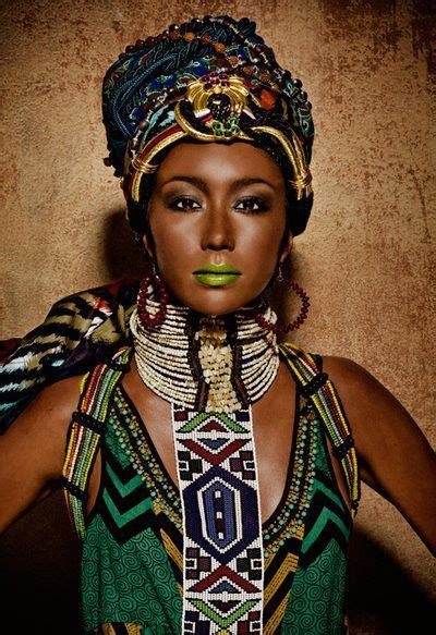 model  wearing african tribal attire   editorial style photo shoot