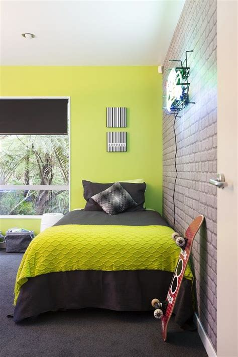Bedroom Wallpaper Range by The Reveal Zingy Lime Green Wall Teamed With Cool