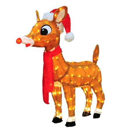 pre lit soft tinsel rudolph  red nosed reindeer