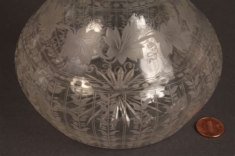 lot  engraved glass vase  pitcher hawkes