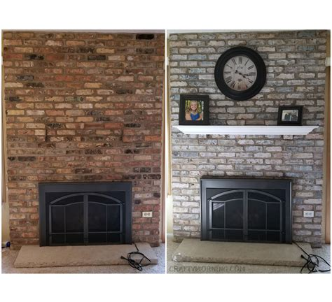 whitewash brick fireplace how to white wash brick fireplace makeover crafty morning