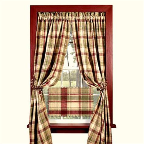 new country wine burgundy green plaid curtain