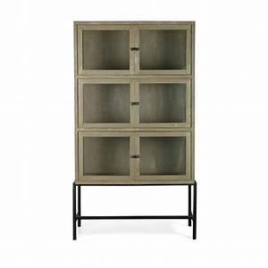 Armoire 6 Portes : armoire design industriel 6 portes verre et bois showcase ~ Teatrodelosmanantiales.com Idées de Décoration