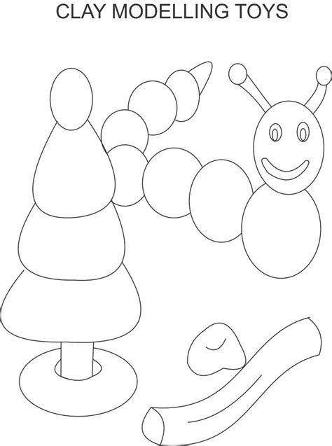 clay model coloring page  kids