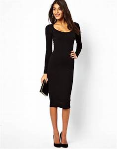 asos midi bodycon dress with long sleeves in black lyst With robe noire moulante manche longue