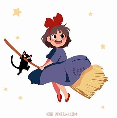 Delivery Debbie Kiki Flying Broom Witch Sketch