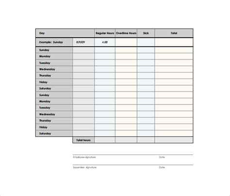 biweekly timesheet template   samples