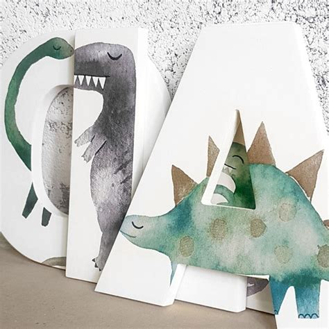 watercolour dinosaur wooden wall letters