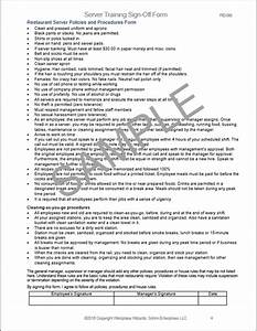 Restaurant Server Training Checklist