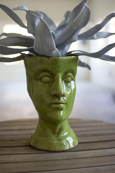 green ceramic head vase human head shaped ceramic vase