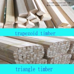 """3/4 """" x 3/4"""" Wood Chamfer Paulownia Triangle Wood Strips"""