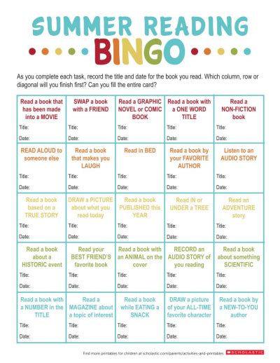 Favorite Character Bingo Template Summer Reading Bingo Printable Worksheets Printables