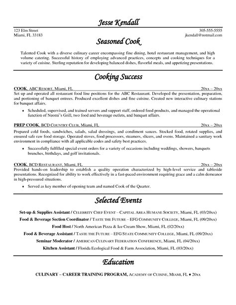 charming lead line cook resume sle images exle