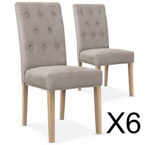 Chaise En Tissu : lot de 6 chaises gaya capitonn es en tissu biege ~ Teatrodelosmanantiales.com Idées de Décoration