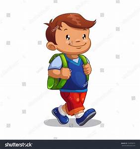 Boy Walking To School Clipart - ClipartXtras