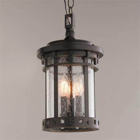 seeded glass prairie style hanging outdoor lantern