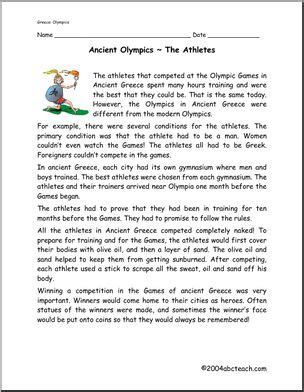 past olympics comprehension ancient olympics athletes