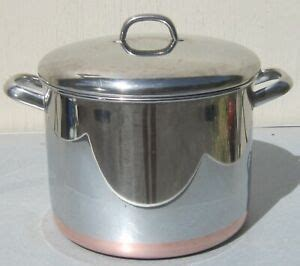 revere ware  qt stock pot  lid stainless steel copper clad  rome ny ebay