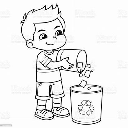 Throwing Garbage Trash Boy Bw Cartoon Coloring
